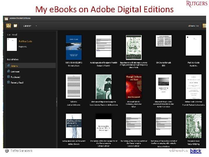 My e. Books on Adobe Digital Editions Tefko Saracevic 59 back