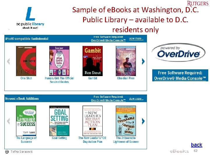 Sample of e. Books at Washington, D. C. Public Library – available to D.