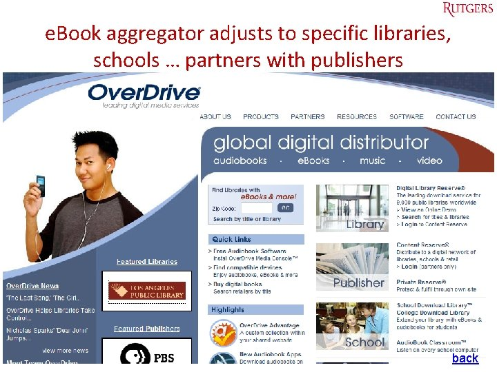 e. Book aggregator adjusts to specific libraries, schools … partners with publishers Tefko Saracevic