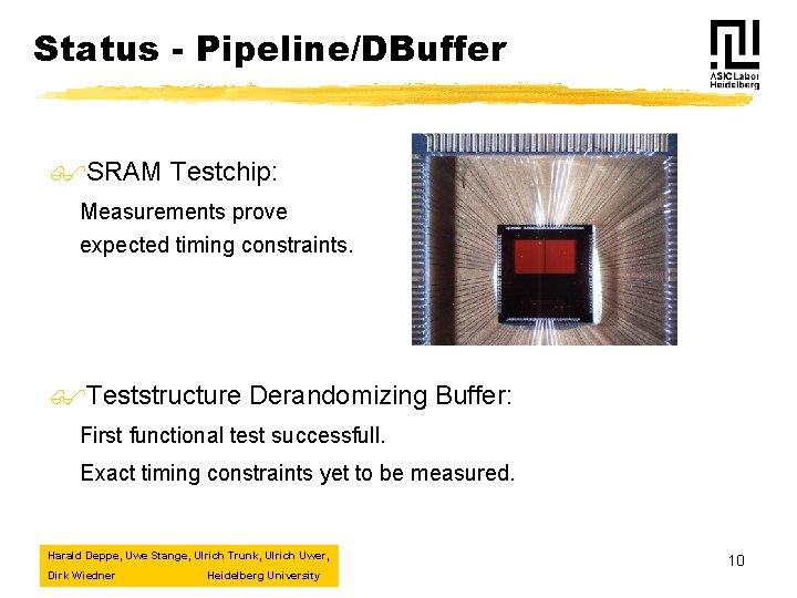 Status - Pipeline/DBuffer $SRAM Testchip: Measurements prove expected timing constraints. $Teststructure Derandomizing Buffer: First