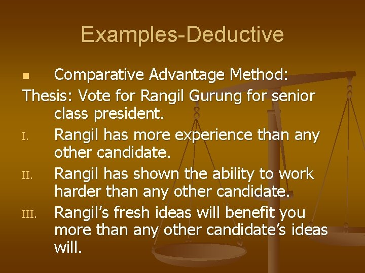 Examples-Deductive Comparative Advantage Method: Thesis: Vote for Rangil Gurung for senior class president. I.