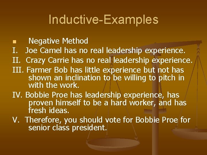 Inductive-Examples Negative Method I. Joe Camel has no real leadership experience. II. Crazy Carrie