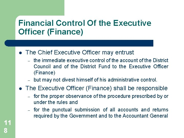 Financial Control Of the Executive Officer (Finance) l The Chief Executive Officer may entrust