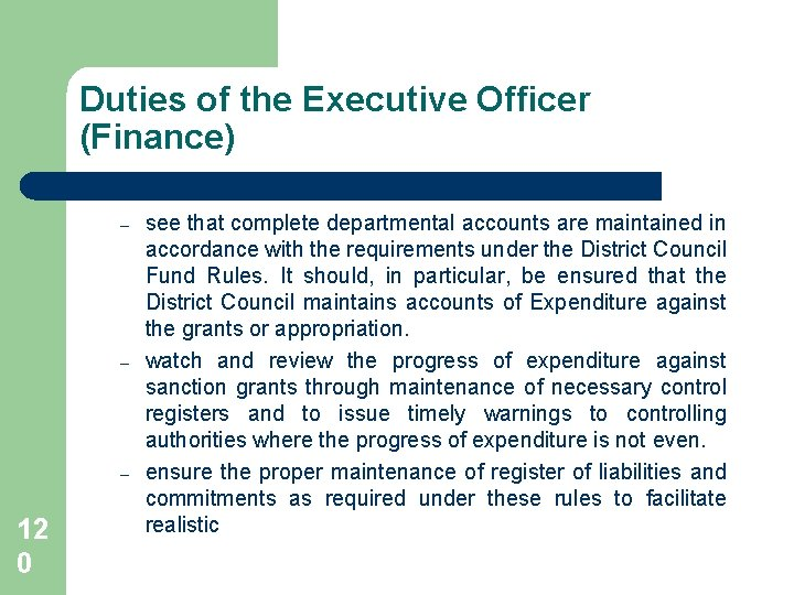 Duties of the Executive Officer (Finance) – – – 12 0 see that complete
