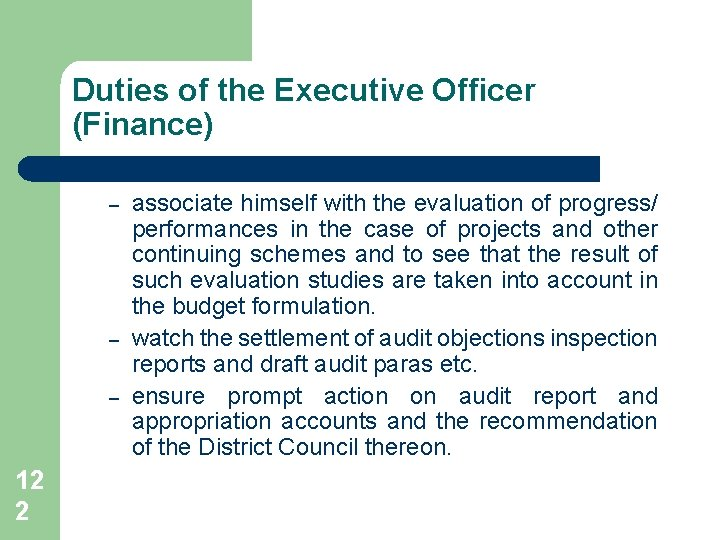 Duties of the Executive Officer (Finance) – – – 12 2 associate himself with