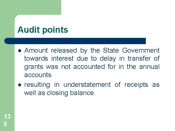 Audit points l l 13 5 Amount released by the State Government towards interest