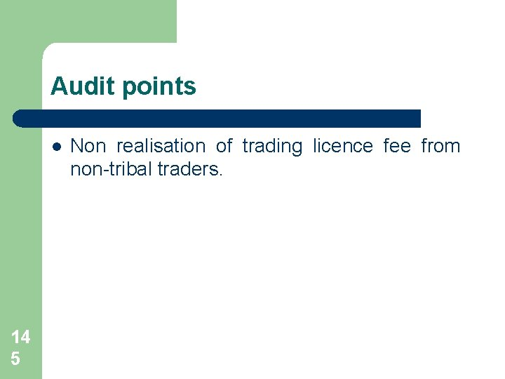 Audit points l 14 5 Non realisation of trading licence fee from non-tribal traders.