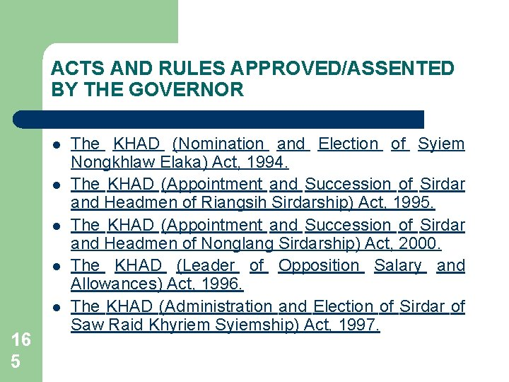 ACTS AND RULES APPROVED/ASSENTED BY THE GOVERNOR l l l 16 5 The KHAD