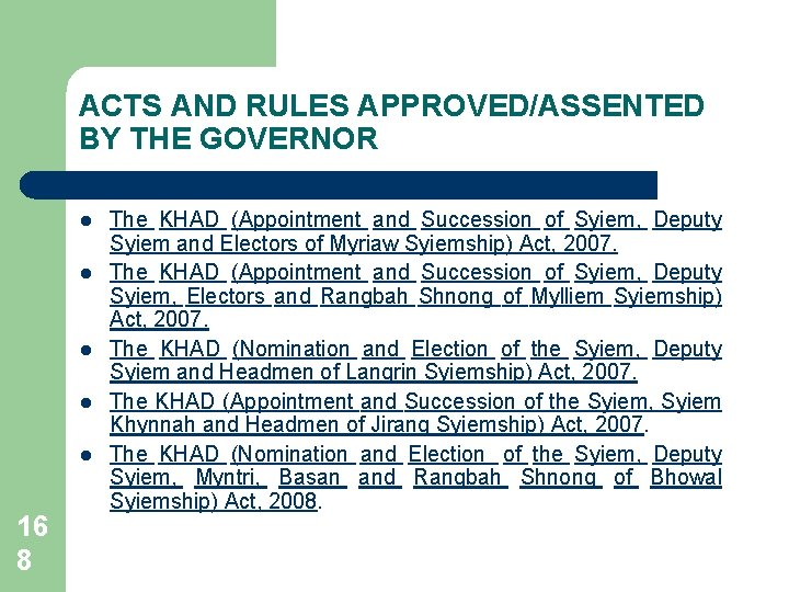 ACTS AND RULES APPROVED/ASSENTED BY THE GOVERNOR l l l 16 8 The KHAD