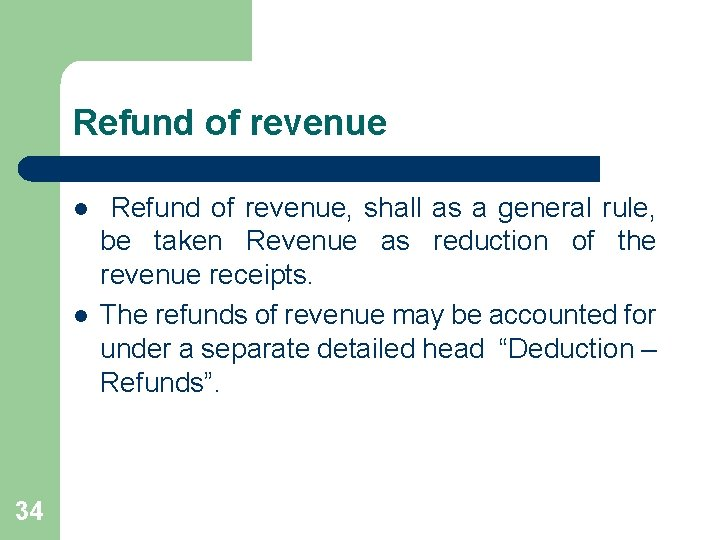 Refund of revenue l l 34 Refund of revenue, shall as a general rule,