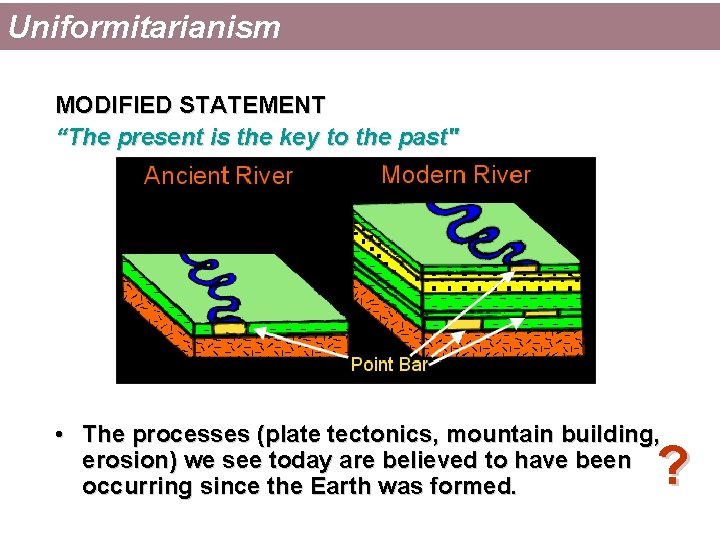 """Uniformitarianism MODIFIED STATEMENT """"The present is the key to the past"""" • The processes"""