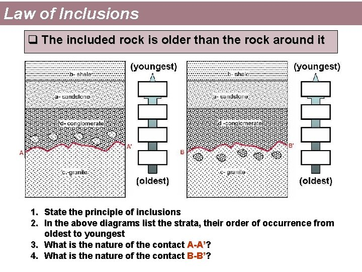 Law of Inclusions q The included rock is older than the rock around it