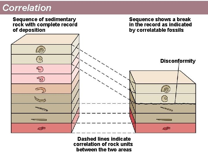 Correlation Sequence of sedimentary rock with complete record of deposition Sequence shows a break