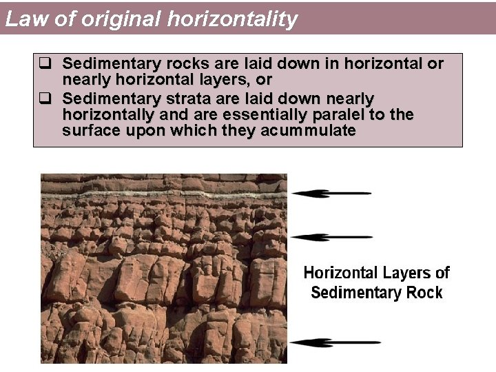 Law of original horizontality q Sedimentary rocks are laid down in horizontal or nearly