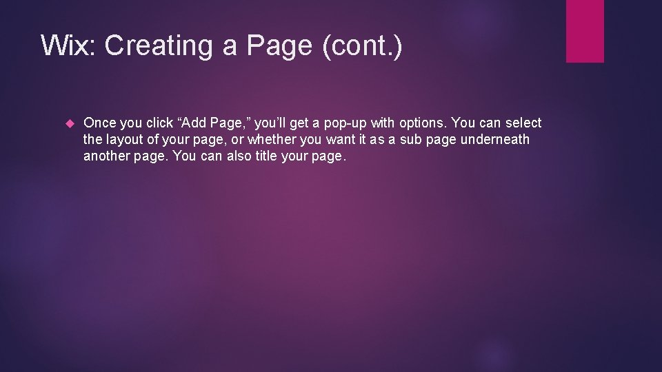 """Wix: Creating a Page (cont. ) Once you click """"Add Page, """" you'll get"""