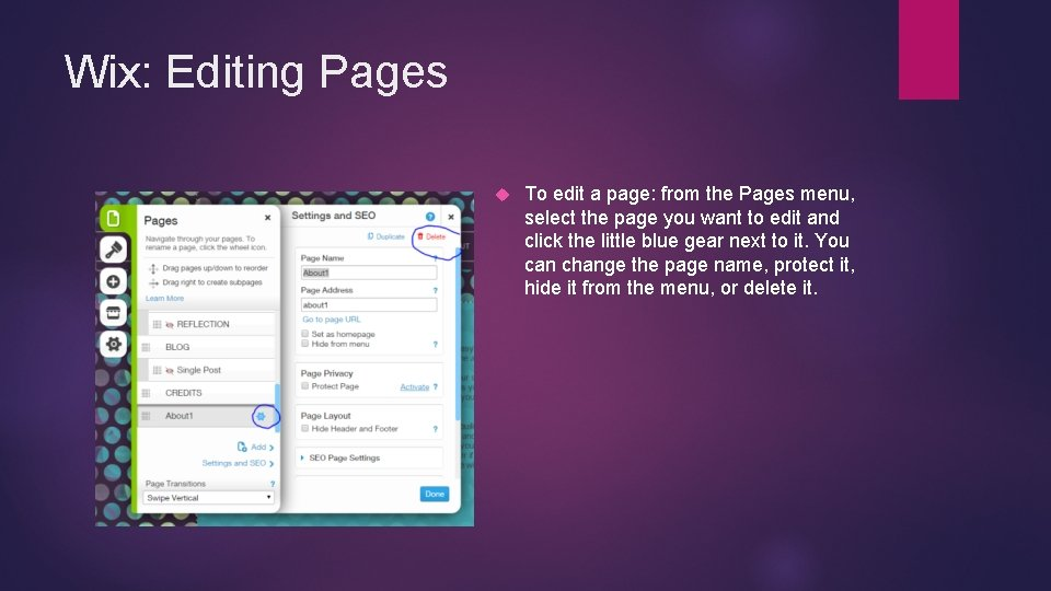 Wix: Editing Pages To edit a page: from the Pages menu, select the page