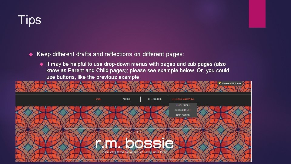 Tips Keep different drafts and reflections on different pages: It may be helpful to
