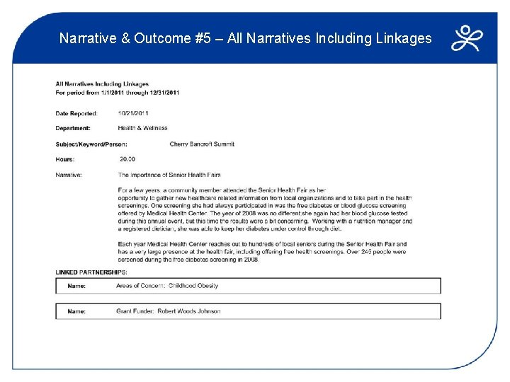 Narrative & Outcome #5 – All Narratives Including Linkages