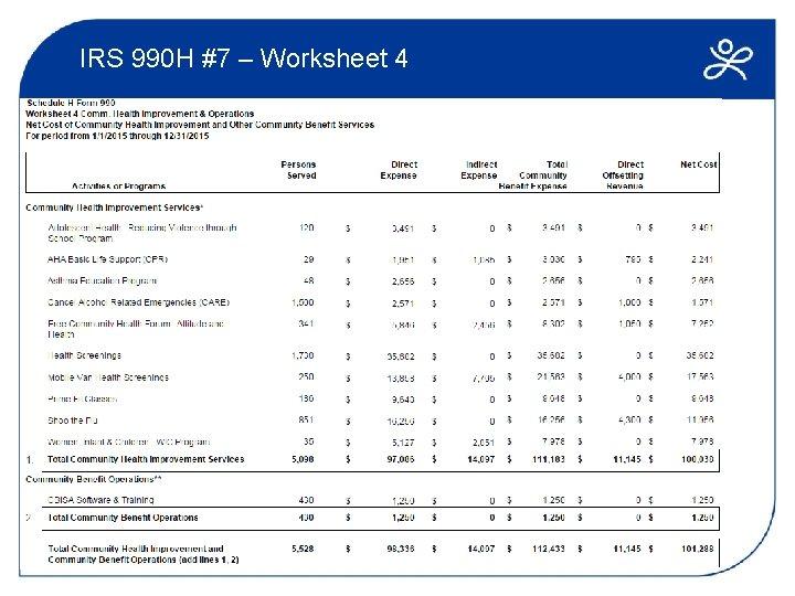 IRS 990 H #7 – Worksheet 4