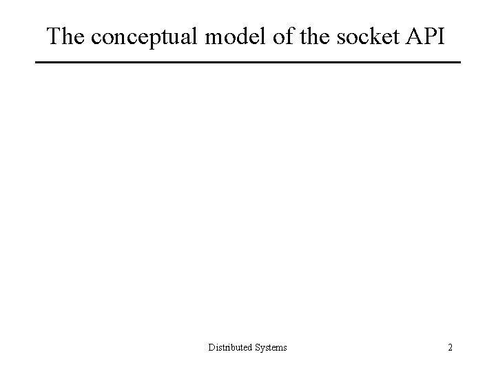 The conceptual model of the socket API Distributed Systems 2