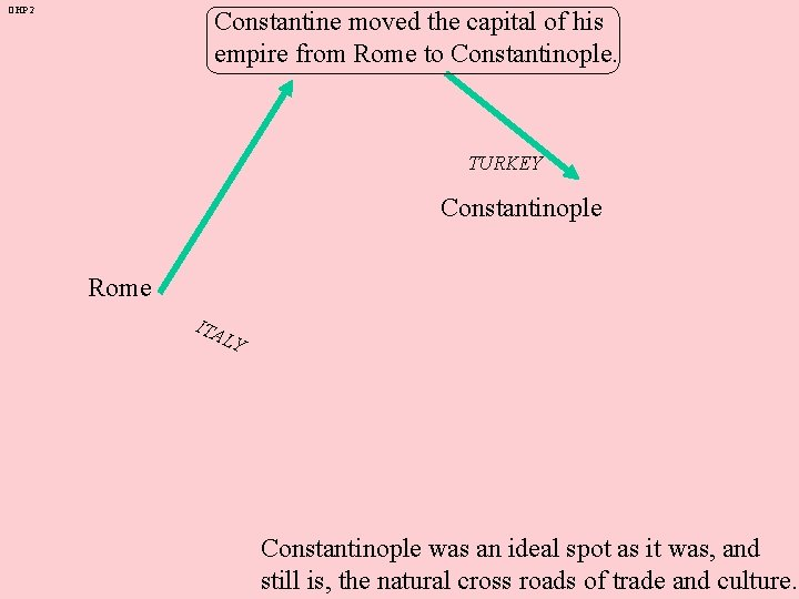 OHP 2 Constantine moved the capital of his empire from Rome to Constantinople. TURKEY