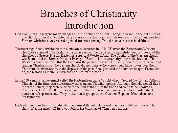 Branches of Christianity Introduction Christianity has undergone many changes over the course of history.
