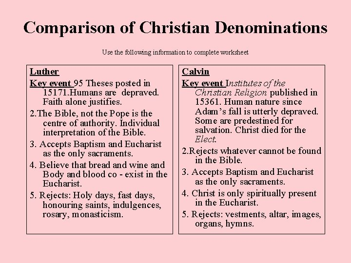 Comparison of Christian Denominations Use the following information to complete worksheet Luther Key event