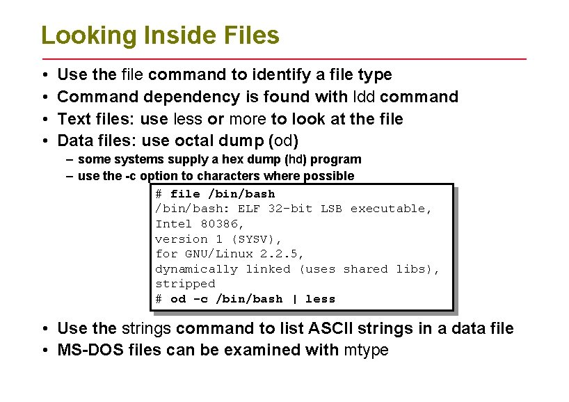 Looking Inside Files • • Use the file command to identify a file type