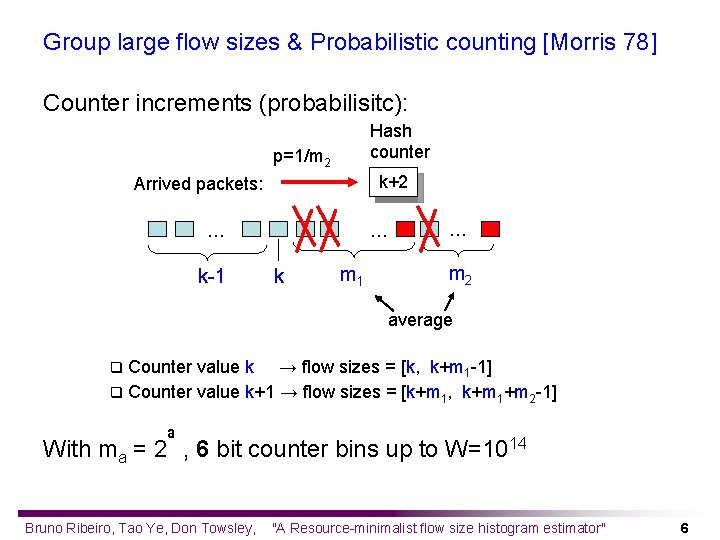 Group large flow sizes & Probabilistic counting [Morris 78] Counter increments (probabilisitc): Hash counter