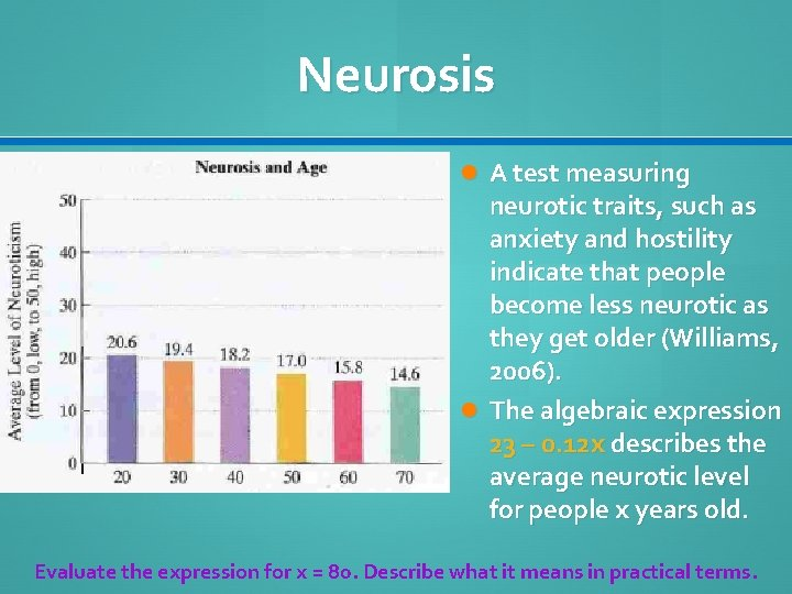 Neurosis A test measuring neurotic traits, such as anxiety and hostility indicate that people