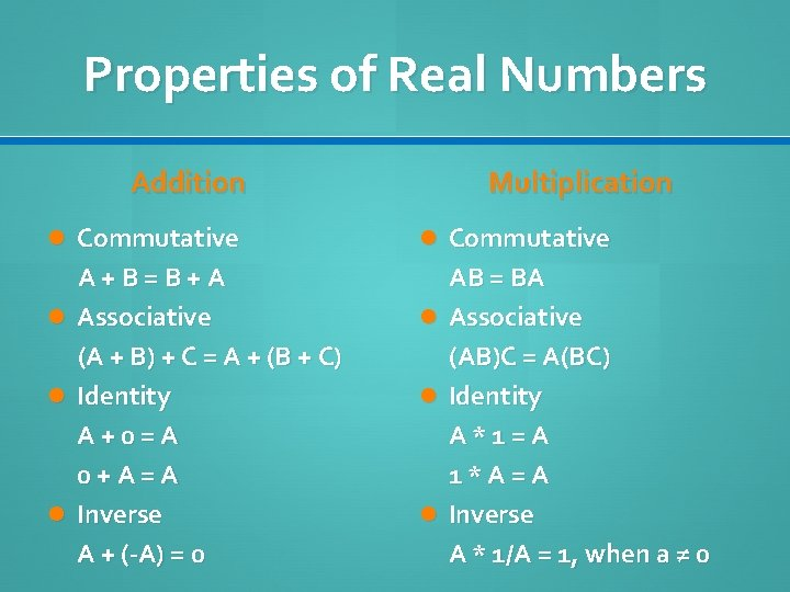 Properties of Real Numbers Addition Multiplication Commutative A+B=B+A Associative (A + B) + C