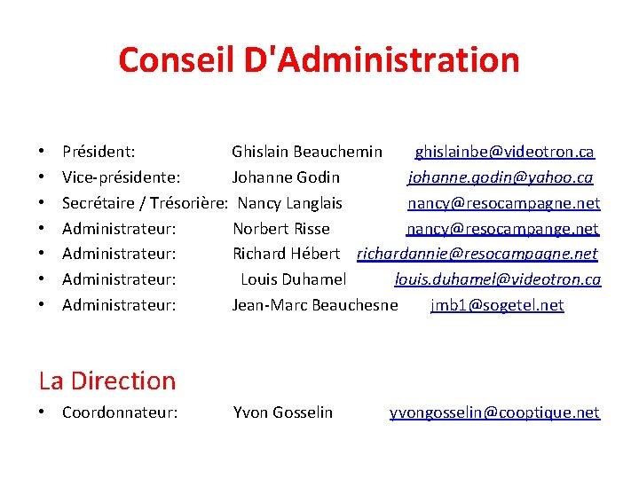 Conseil D'Administration • • Président: Ghislain Beauchemin ghislainbe@videotron. ca Vice-présidente: Johanne Godin johanne. godin@yahoo.