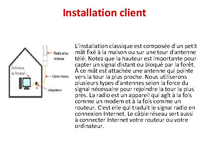 Installation client • L'installation classique est composée d'un petit mât fixé à la maison