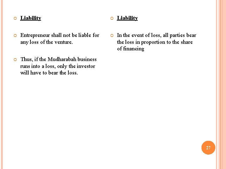Liability Entrepreneur shall not be liable for any loss of the venture. In