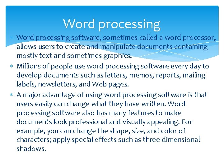 Word processing software, sometimes called a word processor, allows users to create and manipulate