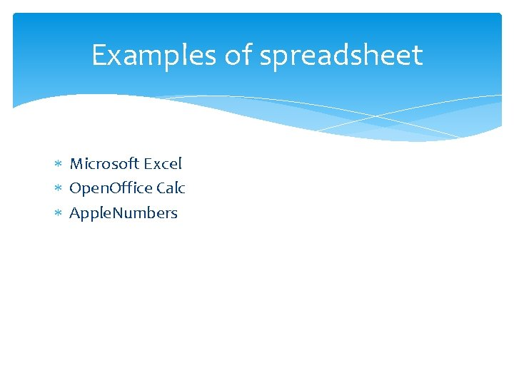 Examples of spreadsheet Microsoft Excel Open. Office Calc Apple. Numbers