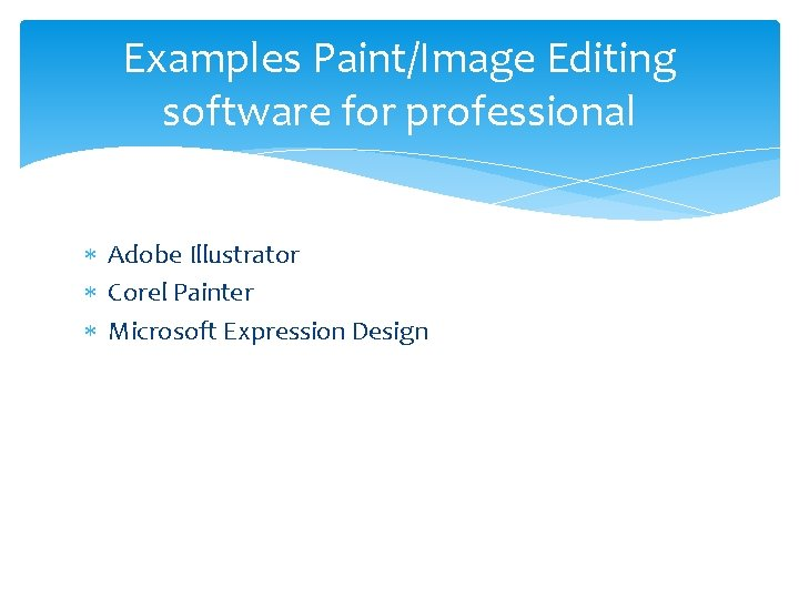 Examples Paint/Image Editing software for professional Adobe Illustrator Corel Painter Microsoft Expression Design