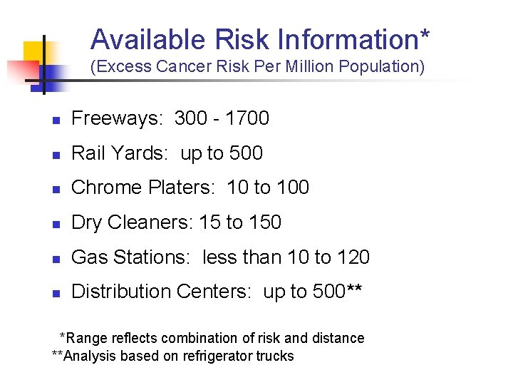 Available Risk Information* (Excess Cancer Risk Per Million Population) n Freeways: 300 - 1700