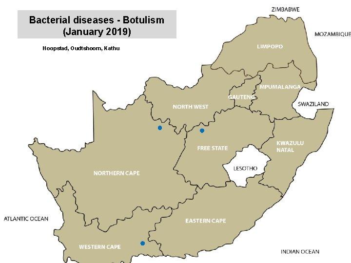 Bacterial diseases - Botulism (January 2019) Hoopstad, Oudtshoorn, Kathu Middelburg, Nelspruit, Bronkhorstspruit, Brits, Christiana,