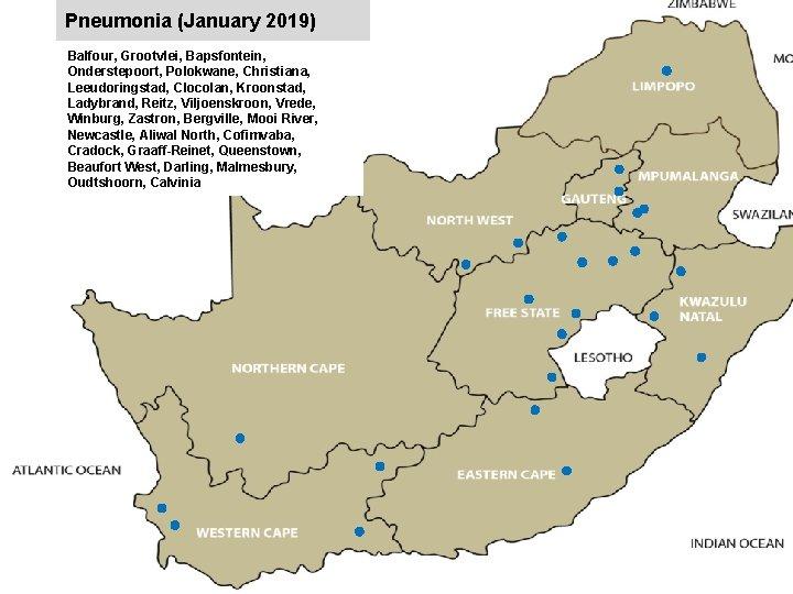 Pneumonia (January 2019) Balfour, Grootvlei, Bapsfontein, Onderstepoort, Polokwane, Christiana, Leeudoringstad, Clocolan, Kroonstad, Ladybrand, Reitz,