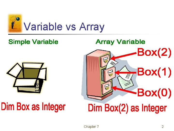 Variable vs Array Chapter 7 2