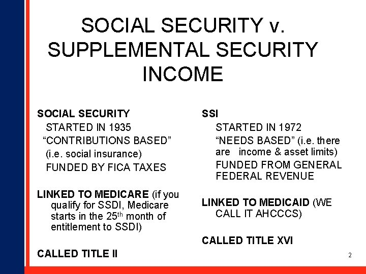 """SOCIAL SECURITY v. SUPPLEMENTAL SECURITY INCOME SOCIAL SECURITY STARTED IN 1935 """"CONTRIBUTIONS BASED"""" (i."""