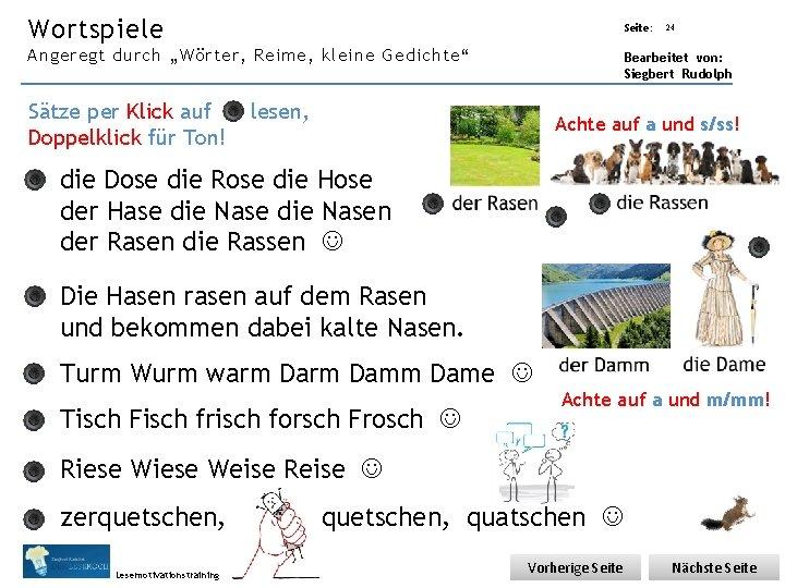 """Übungsart: Wortspiele Angeregt durch """"Wörter, Reime, kleine Gedichte"""" Sätze per Klick auf Doppelklick für"""