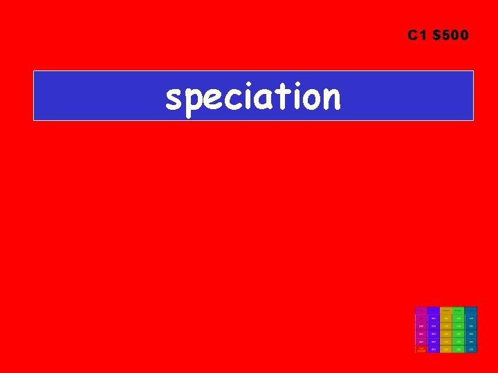C 1 $500 speciation