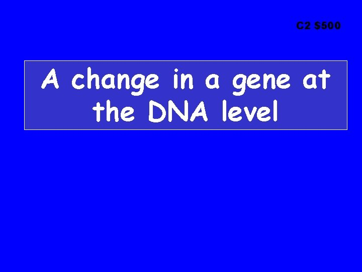 C 2 $500 A change in a gene at the DNA level
