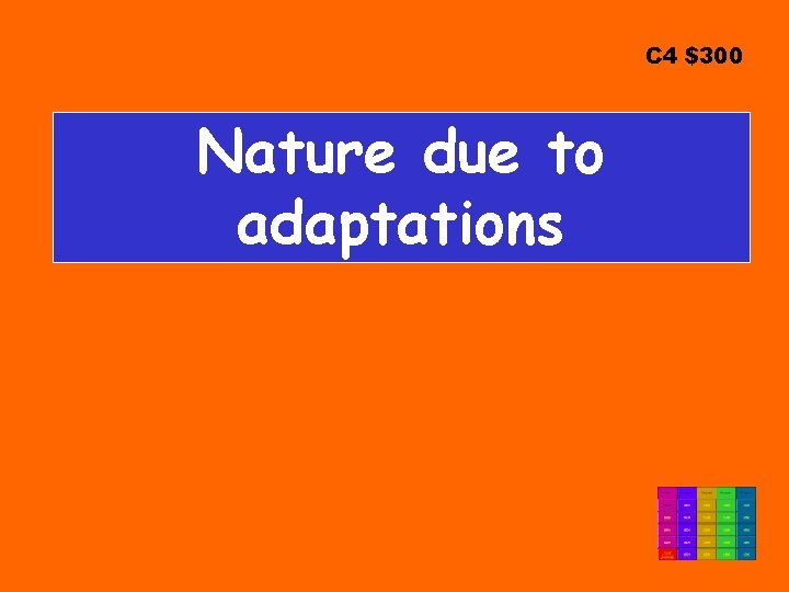 C 4 $300 Nature due to adaptations