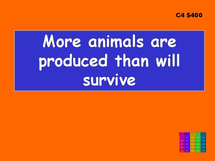 C 4 $400 More animals are produced than will survive
