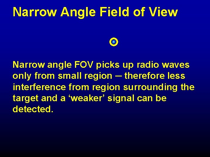 Narrow Angle Field of View Narrow angle FOV picks up radio waves only from