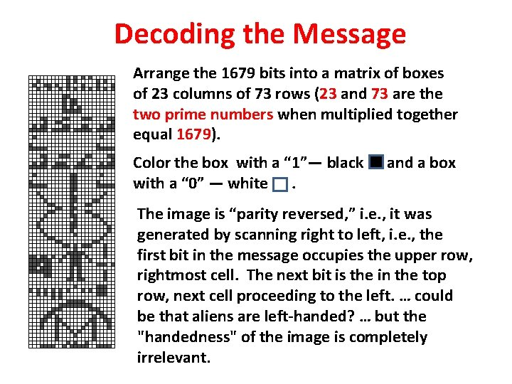 Decoding the Message Arrange the 1679 bits into a matrix of boxes of 23