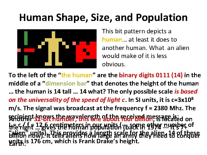 Human Shape, Size, and Population This bit pattern depicts a human… at least it